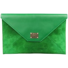 JIMMY CHOO Green Leather & Suede Rosetta Envelope Clutch