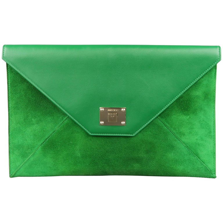 Jimmy Choo Green Leather and Suede Rosetta Envelope Clutch