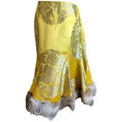 John Galliano Vintage Gold and Yellow Jacquard Fur Trim Bustle Back Circle Skirt