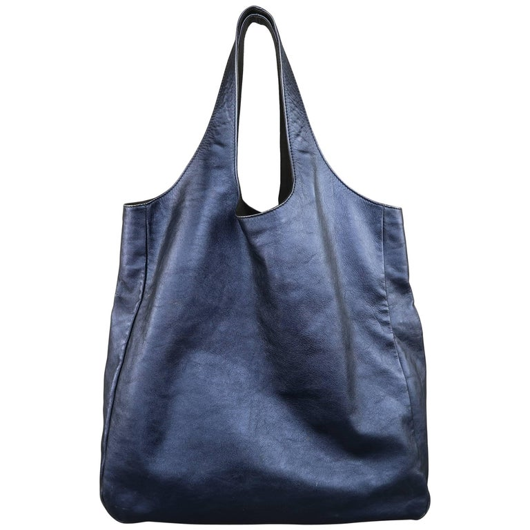 Burberry Prorsum Metallic Navy Leather Spring 2013 Collection Shoulder Tote Bag