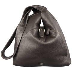 GIORGIO ARMANI Brown Textured Leather Crossbody Bag
