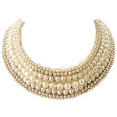Mid-Century Japanese Faux Pearl & Crystal Rhinestone Choker Collar Necklace