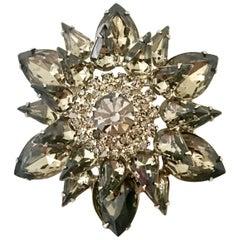 "1960'S Silver & Crystal ""Black Diamond"" Brooch By, Delizza & Elster -""Juliana"""