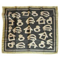 Ato Bold Olive Green Abstract Silk Scarf with Hand-Rolled Edges.