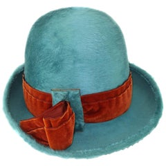 Jami Turquoise Mohair Hat With Velvet Band, 1950s