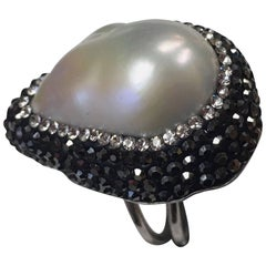 Luscious Teardrop Mobe Pearl and Faux Diamond Sterling Silver Statement Ring