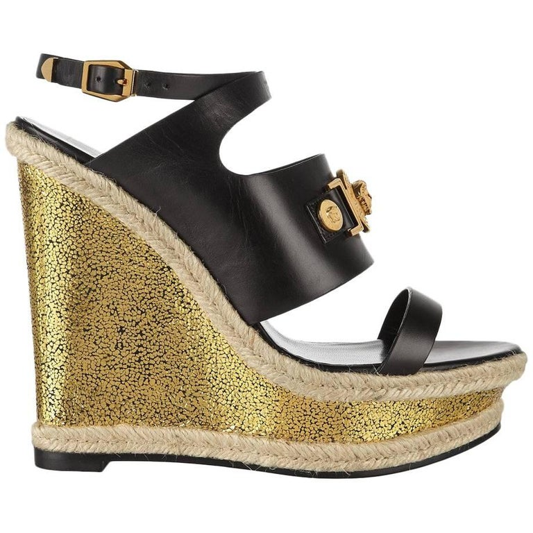 96f80171d New VERSACE gold rope platform wedge sandals For Sale at 1stdibs