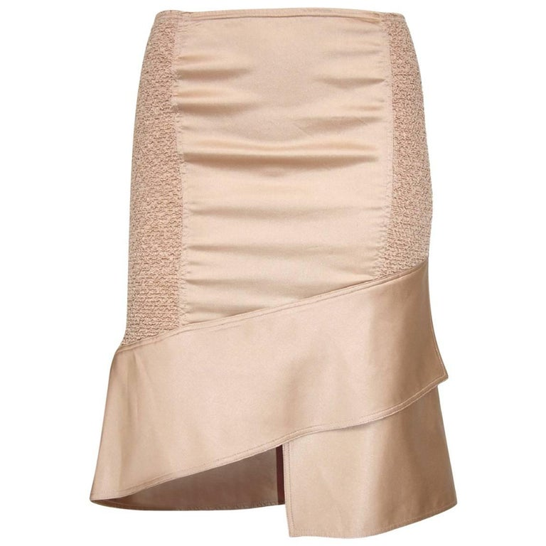 Tom Ford for Gucci S/S 2004 Blush Nude Silk Asymmetrical Skirt It. 40