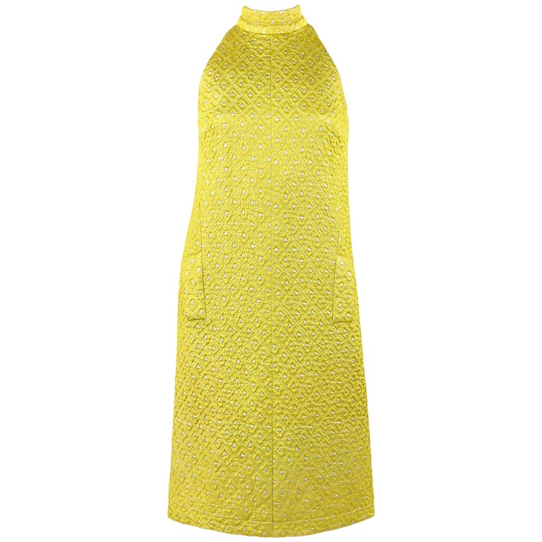 JEAN PATOU c.1960's Yellow Diamond Brocade Halter Shift Cocktail Dress