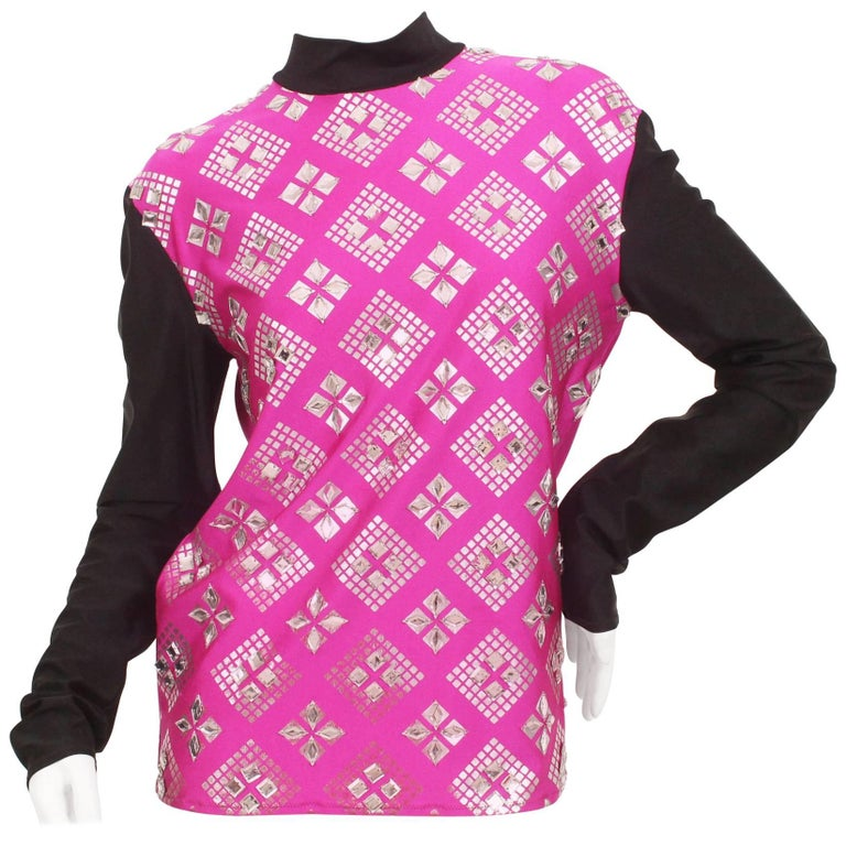 Jean Paul Gaultier Fuschia and Black Mirrored Sporty Mock Neck Top
