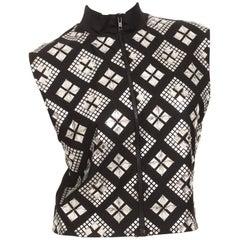 Jean Paul Gaultier Black Zip-front Mock Neck Mirrored Top, 1980s