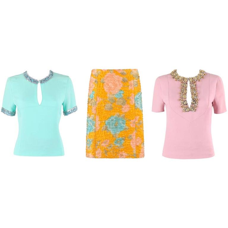 MIU MIU PRADA S/S 2004 3Pc Bead Embellished Key Hole Top Floral Skirt Dress Set