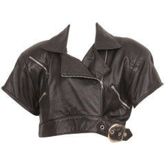 Michoel Schoeler Black Leather Cropped Motorcycle Jacket