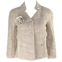 NEW Chanel Linen Fantasy Tweed Fringed Trim Jacket Blazer