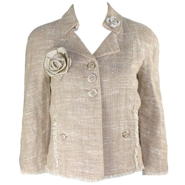 Classy Chanel Linen Fantasy Tweed Fringed Trim Jacket Blazer
