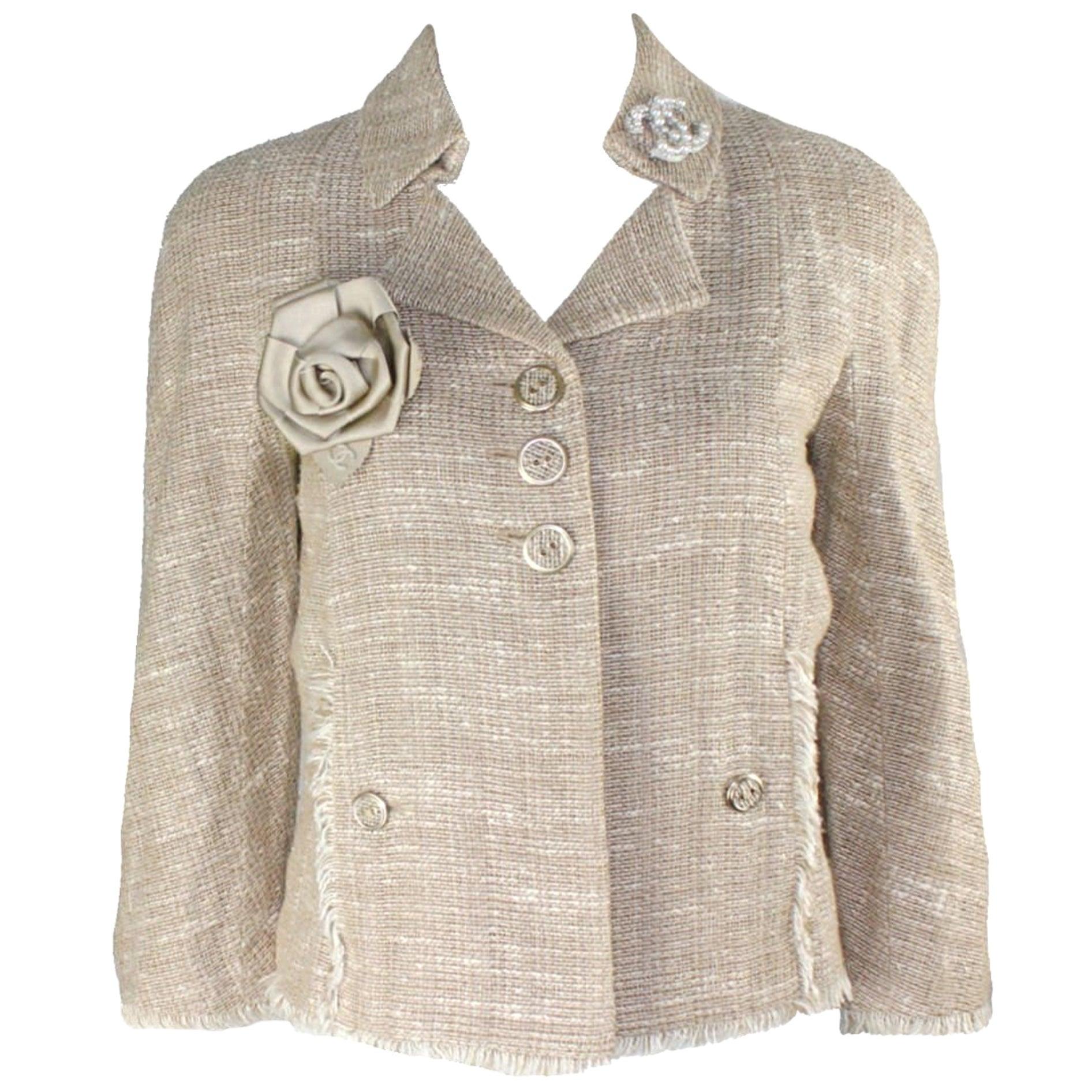 NEW Chanel Linen Fantasy Tweed Fringed Trim Jacket Blazer