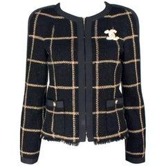 Stunning Chanel Signature Black Metallic Lesage Fantasy Tweed Jacket