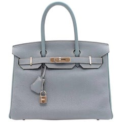 Hermes Blue Lin Fjord Leather 30CM Birkin Bag
