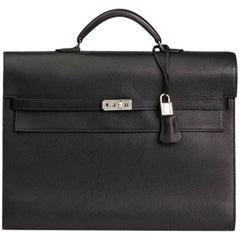 Hermes Black Epsom Leather Kelly Depeche Briefcase