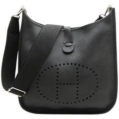 HERMES 'Evelyn II' Bag in Black Taurillon Clémence Leather