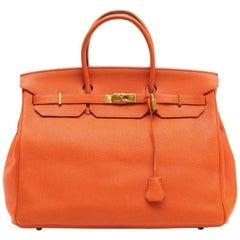 HERMES Birkin 40 Bag in Orange Togo Leather