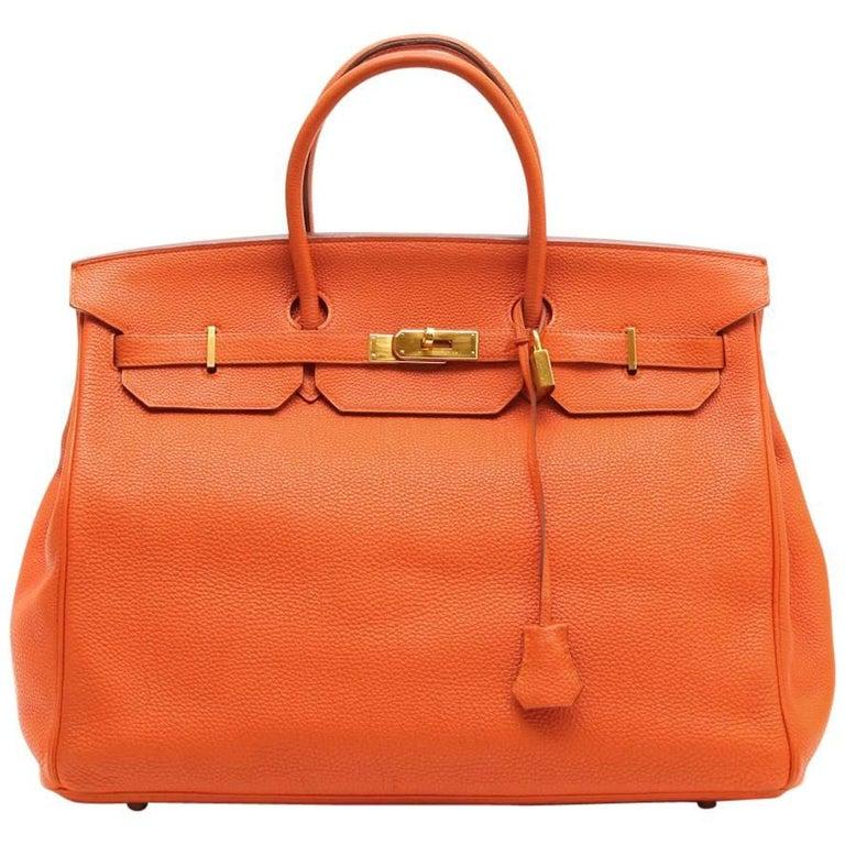 ad771f42b9 HERMES Birkin 40 Bag in Orange Togo Leather For Sale at 1stdibs