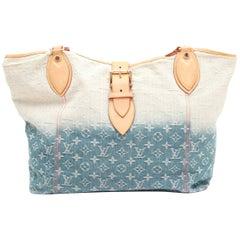 LOUIS VUITTON Tota Bag in two-Tone Blue to Beige Monogram Fabric