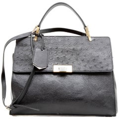 BALENCIAGA 'Le Dix' Bag in Shiny Black Grained Leather and Ostrich