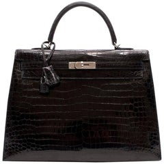 Hermes Black Crocodile Porosus 35CM Kelly Bag With Cites