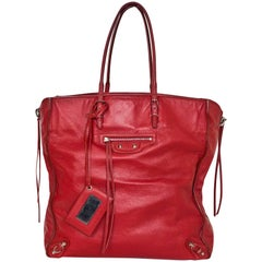 Balenciaga Red Leather A4 Papier Zip Tote Bag with Dust Bag