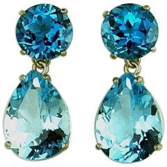 27.4 Carats of Dark and Light Blue Topaz Sterling Silver Stud Earrings
