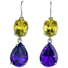 18.85 Carats Yellow Beryls and Amethysts in Sterling Silver Dangle Hook Earrings