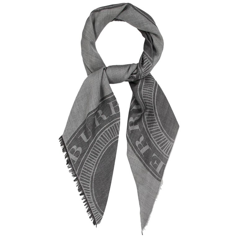 Burberry New Wool Silk Black Gray Men's Women's Scarf