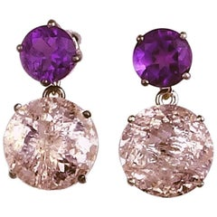 19.96 Carats of Amethysts and Morganite Dangling Sterling Silver Stud Earrings