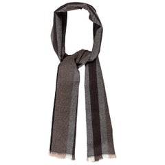 Gucci New Striped Brown Black Gray Wool Men's Women's Scarf