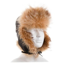 Hermes New Leather Cognac Fur Russian Style Men's Women's Winter Flap Hat in Box