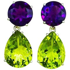 23.36 Carats of Amethyst and Champagne Quartz Sterling Silver Stud Earrings