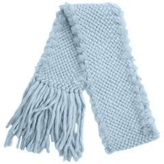 1990s Sky Blue Angora Wool and Fur Trim Scarf