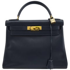 Hermes Navy Blue Box Supple Leather 28cm Kelly Bag, 1973