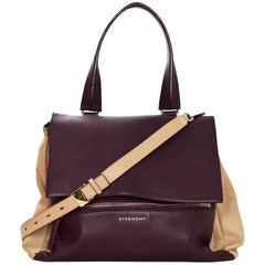 Givenchy Burgundy & Beige Medium Pandora Pure Satchel Bag