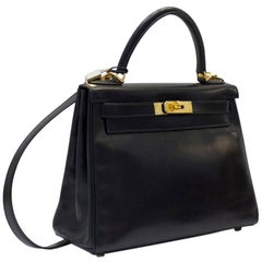 Hermes Black Box Supple Leather 28 cm Kelly Bag, 2005