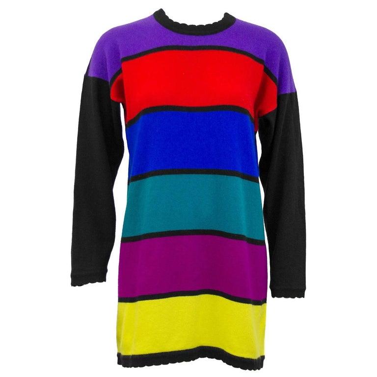 Jean Muir Cashmere Horizontal Multicolor Stripe Sweater, 1980s