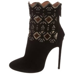 Alaia New Black Leather Metallic Laser Cut Out Evening Ankle Boots Heels in Box