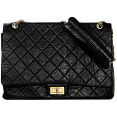 Chanel Black Distressed Calfskin Leather XL Reissue 2.55 Quilted Flap Bag