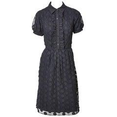 Yves Saint Laurent Tulle and Apliqué Shirt Dress