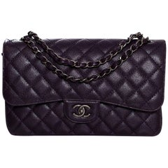 Chanel 2016 Dark Purple Quilted Caviar Jumbo Classic Double Flap Bag w/ Box