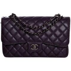 Chanel 2016 Dark Purple Quilted Caviar Jumbo Classic Double Flap Bag w/ Box
