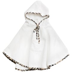 Burberry London White Terrycloth Hooded Children's Capelet OS