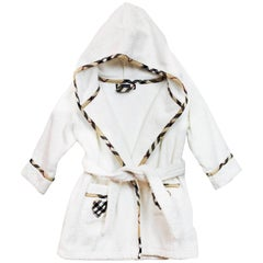 Burberry London White Terrycloth Hooded Children's Robe sz S