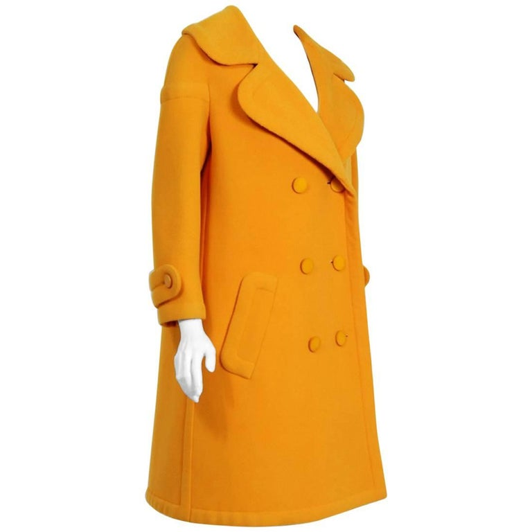 1964 Nina Ricci Haute-Couture Marigold Wool Double Breasted Sculpted Mod Coat